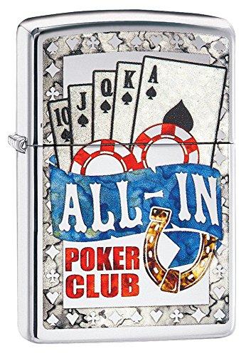 Zippo AL IN Poker Design Feuerzeug, Messing, Chrom, 5.5 x 3.5 x 1 cm
