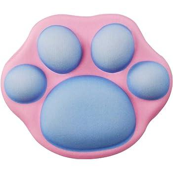 excovip漫画 マウスパッド リストバンド付きマウスパッド シリコン充填 素敵な贈り物 手首を保護する 洗える (青い猫の足)