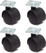 Zwenkwielen 4 stuks Black Swivel Plate Caster 30mm Nylon Wheel Chair Table Castor Replacement Hardware Casters for Industr...