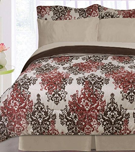 Pearl Reversible Bed in a Bag- Taupe/ Chocolate/ Burgundy with sheet set (Twin)