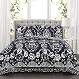 Lush Decor Navy Rosetta Quilt | Floral Vine Ornate Print Pattern Reversible 3 Piece Bedding Bedspread Set-King