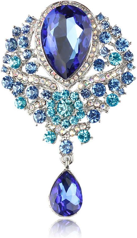 Reizteko Wedding Bridal Big Crystal Rhinestone Bouquet Brooch Pin for Women (Blue)
