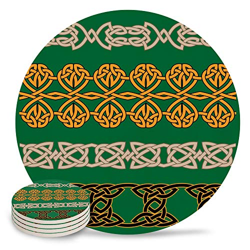 4 Inch Coasters Set for Drink Ceramic Stone Coaster Celtic Brown ans Orange Rope on Green Background 4 Pieces Absorbent Wooden Coaster for Home and Kitchen