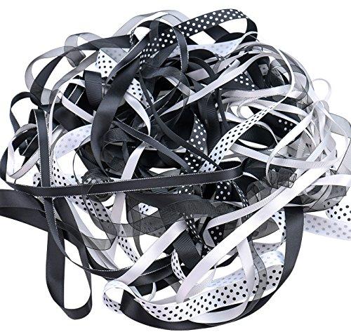 Luxbon 20m (10 Stück je 2m) variieren Stil 6mm - 16mm Satinband Schleifenband Dekoband Geschenkband Organzaband Bänder für Hochzeit Taufe Schwarz+Grau+Weiß