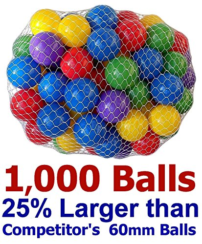 Pack of 1000 Large Size Ball Pit Balls - 5 Bright Colors; Crush-Proof Air-Filled; Phthalate Free; BPA Free; Non-Toxic; Non-PVC Plastic