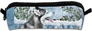 Siberian-Husky Pen Pencil Stationery Bag Makeup Case Travel Cosmetic Brush Accessories Toiletries Pouch Bags Zipper Resistance Carry Handle Power Lines Hanging Handbag Documents