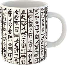 Emvency Coffee Tea Mug Gift 11 Ounces Funny Ceramic Hieroglyphs Black and White Egyptian Hieroglyphics African Gifts For Family Friends Coworkers Boss Mug
