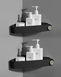 2 Packs Black Shower Caddy, Sotfamily No Drilling Shower Corner Shelf with Adhesive Pad, Rust Free Plastic Shower Storage ...
