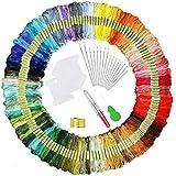 elloLife [150 Farben] Stickgarn, Multifarben Sticken Garn Embroidery Threads mit 12 Spulen Organisator für Freundschaftsbänder Kit Stickerei Basteln Leisure Arts Kreuzstich Nähgarne Häkeln, 8m