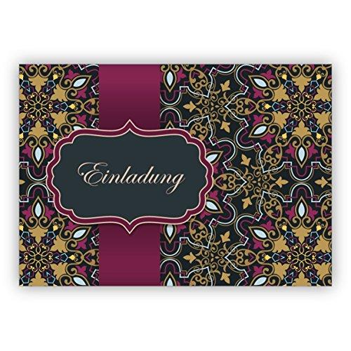 4x Orientalisch anmutende Einladungskarte zum Essen, Diner, Geburtstag, Examen zu feiern mit arabischem Muster, rosa gold Optik: Einladung • immit Umschlägen um Freunde und Familie einzuladen