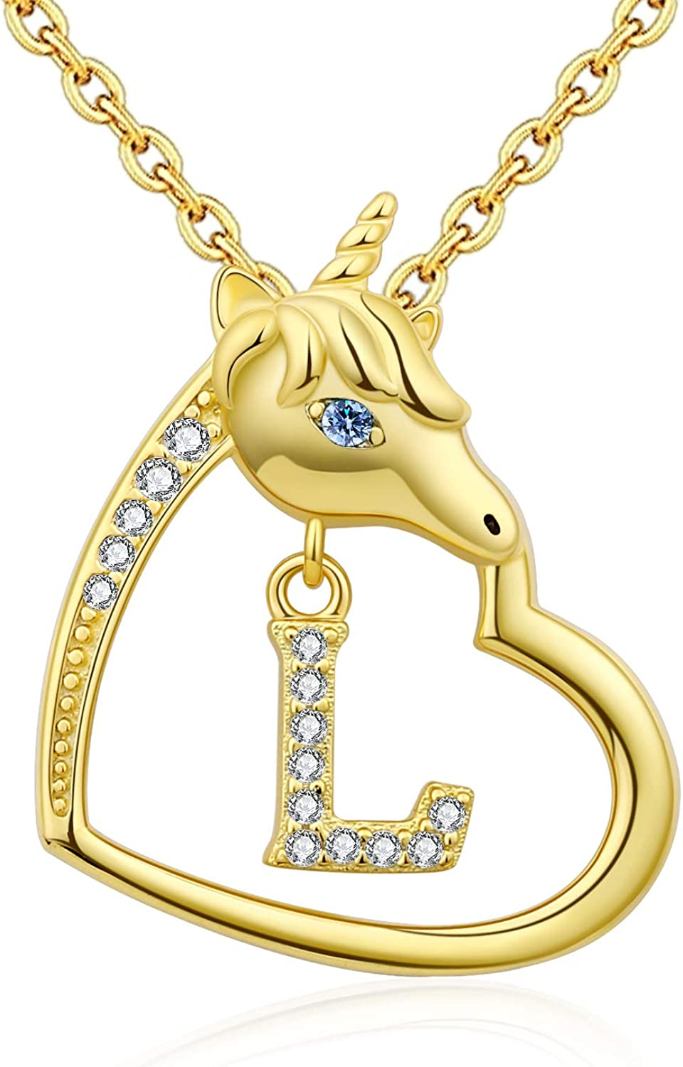 Award-winning store 18K-Gold-Plated Unicorn Heart Initial Necklaces Louisville-Jefferson County Mall Sterling S 925 -