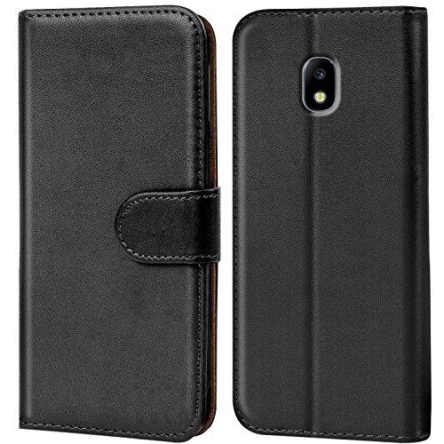 Conie Handyhülle für Samsung Galaxy J3 2017 J330 Hülle, Premium PU Leder Flip Case Booklet Cover Weiches Innenfutter für Galaxy J3 2017 J330 Tasche, Schwarz