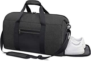 Sports Gym Bag Duffle Bag with Shoes Compartment Waterproof Travel Weekender Overnight Duffel Bag for Women Men 40L Black