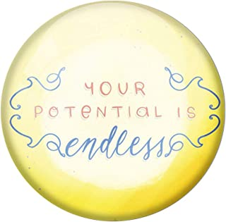 AVI Yellow Metal Fridge Magnet with Positive Quotes Your Potential is Endless Design MR8001184