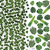 Auihiay 90 FT 12 Strands Artificial Ivy Garland and 45 Pieces Artificial Palm Leaves with 50 Pieces Push Pins for Party Decorations Beach Baby Shower Wedding Birthday Decorations