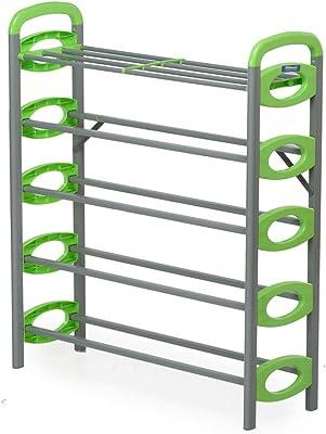 Nilkamal Redley 5 Layer Metal Shoe Rack Green