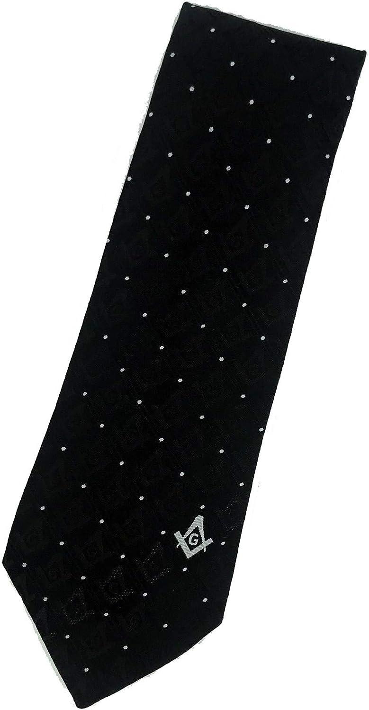 Masonic Square & Compasses Woven Necktie - Black
