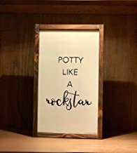 Potty Like A Rockstar, Bathroom Rustic Wood Sign, Farmhouse Style, Toilet, Humor