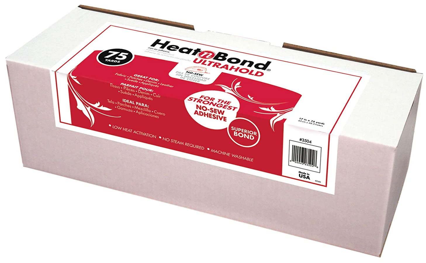 HeatnBond UltraHold Iron-On Adhesive, 17 Inches x 75 Yard Roll in Display Box