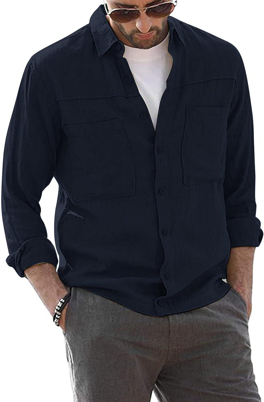 Men's Long Sleeve Shirt Linen Button Down Shirts Fashion Casual Solid Color Lapel Shirt Top V Neck Beach Blouse