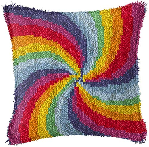 Backbayia Latch Hook Kits DIY Crochet Yarn Kits for Throw Pillow Cover, Sofa Cushion Cover,16X16 inch,Needlework Crafts for Kids and Adults (Rainbow)