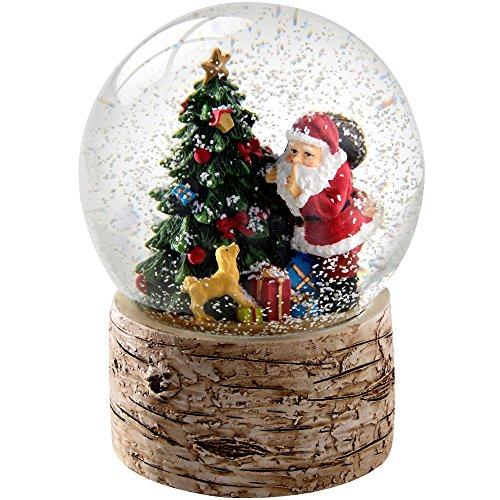 WeRChristmas Schneekugel mit Weihnachtsbaum, Sockel aus Birkenholz, 13cm, Mehrfarbig