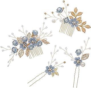 Toyvian 4 unids Rhinestone peines del Pelo Florales Nupcial