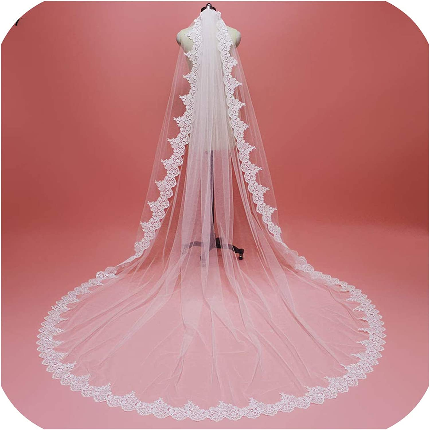 3 Meters Bling Sequins Lace Edge Bridal Veil with Comb Single Tier 3 M Wedding Veil,Ivory,350cm