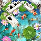 Mrlwy Stile cinese 3D Stereo Loto Carpa Pavimento Pittura Murale Carta Da Parati Soggiorno Bagno All'aperto Carte Da Parati In Vinile-250x175CM