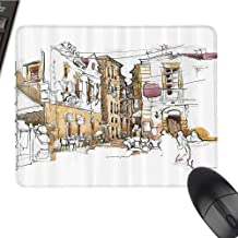 Premium-Textured Large Mouse Pads Mat, Bottom with Non-Slip Dense Texture, for Laptop, Computer & PC - Modern Decor - Painting istic Sketchy Like with Street Houses Wires - 10