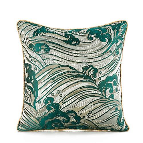 H/A Nueva luz de lujo hoteles jacquard almohada almohada almohada lumbar cojines decorados sala de estar dormitorio TOM-EU (color: onda del mar)