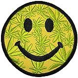 Papapatch Happy Face Smile Weed Marijuana Logo Hippie Retro Jacket T-shirt Fun Costume DIY Applique Embroidered Sew Iron on Patch - Yellow (IRON-SMILE-MARIJUANA)