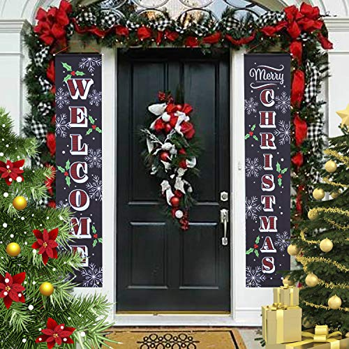 JOYIN 72x12 inches Merry Christmas Porch Sign, Welcome and Merry Christmas Hanging Sign for Indoor and Outdoor Porch Wall Banner Xmas Decoration