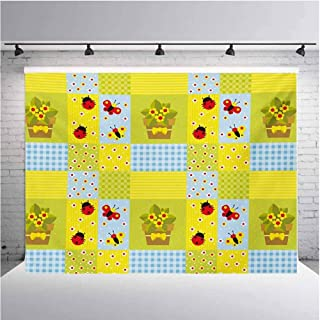 Nursery Photography Background Cloth Geometrical Design with Flowers in Pot Butterflies and Ladybugs for Photography,Video and Televison 12ftx8ft Pale Green Pale Blue Yellow