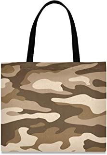 LUPINZ Damen Handtasche aus Segeltuch, Camouflage, Braun