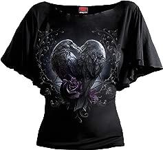 Spiral - Raven Heart - Boat Neck Bat Sleeve Top Black Plus Size