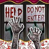 Mengove Halloween Fensteraufkleber Blutiger Handabdruck Aufkleber, Glastür Niedliche Geisterhand...