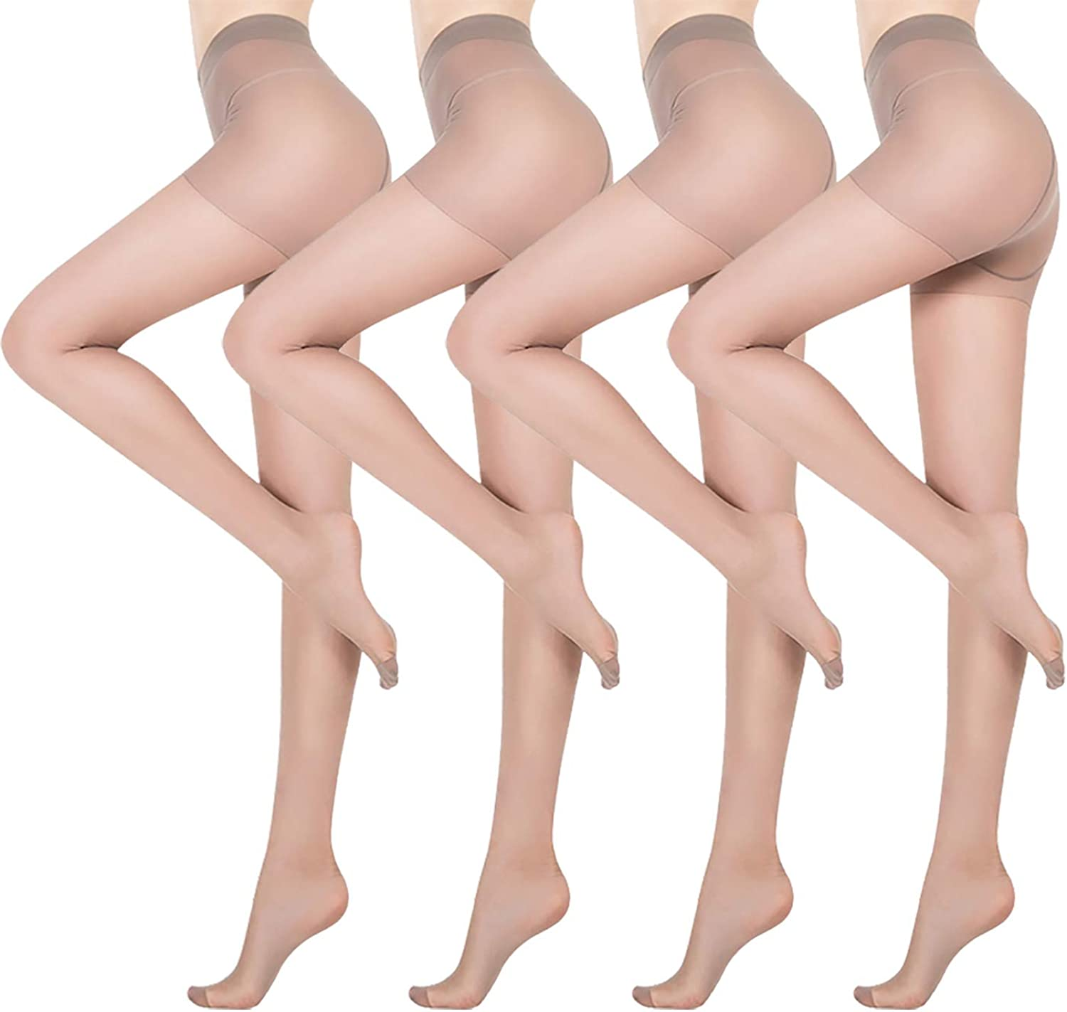 Swbreety Women Sheer Reinforced Crotch Control Top Pantyhose Tights 4 Pairs