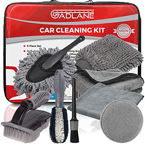 GADLANE 9 Piece Car Cleaning Kit With Storage Bag Includes Upholstery...