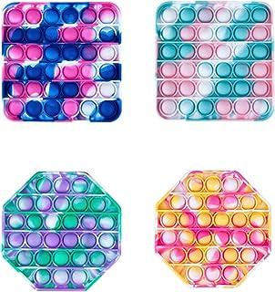 مجموعه اسباب بازی های Fidget Fubget Sensory Pop Push Bubble ، مجموعه ای از اسباب بازی های ترکیبی مخفی سیلیکونی Sensory Squeeze Autism Stress Reliever A ، برای دفتر خانه 4 اسباب بازی Fidget اسباب بازی (مربع ، هشت ضلعی)