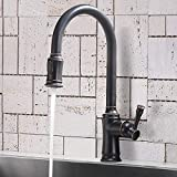 Vapsint Single Hole Stainless Steel Oil Rubbed Bronze Kitchen Faucet, Kitchen Sink Faucets with Pull Down Sprayer for Kitchen Sinks VA-YHT064H-1
