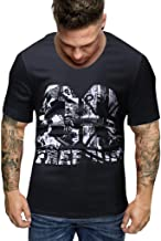 T Shirt Herren Kurzarm Pullover Kanpola Einfarbig/Print Oversize Shirt Slim Fit Basic Baumwolle Stylische Sommer Sweatshirt Muskelshirt Atmungsaktive Laufshirt