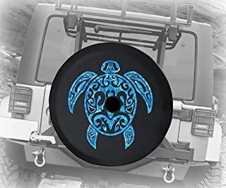 JL Spare Tire Cover Sea Turtle Diving Beach Marine Life Salt Water Ocean for JL Jeep Wrangler Accessories Black Size 33 Inch with Grommets