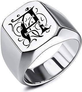 MeMeDIY Anello con Sigillo con monogramma Iniziale inciso Personalizzato per Uomo Donna Ragazzi Uomo Acciaio Inossidabile,...