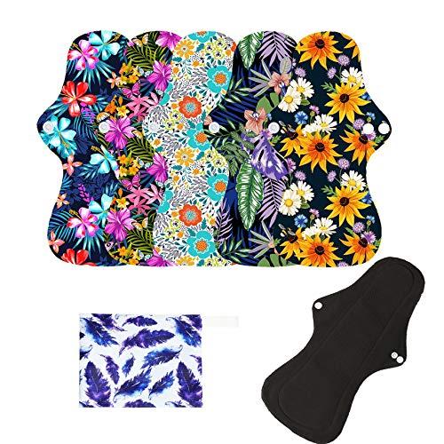 6Pcs Resuable Waterproof Menstrual Pad Sets Including 5Pcs Heavy Flow Menstrual Pads Mama Cloth Sanitary Napkins + 1Pc Mini Wet Bag