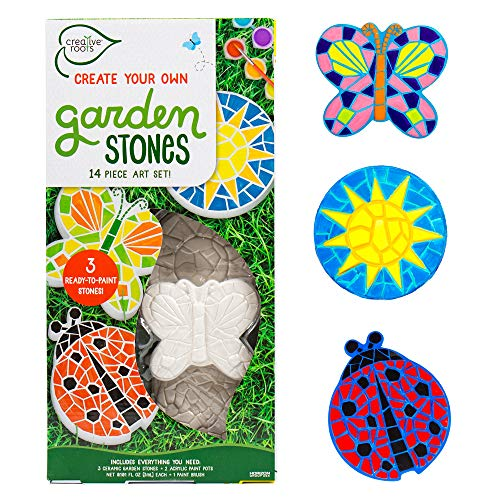 Creative Roots Paint Your Own Butterfly, Ladybug & Sun Stepping Stone by Horizon Group USA, 1 box of 3 count