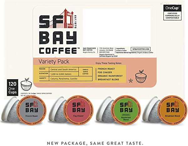 SF Bay Coffee Variety Pack 120 Ct Compostable Coffee Pods K Cup Compatible Including Keurig 2 0 Packaging May Vary