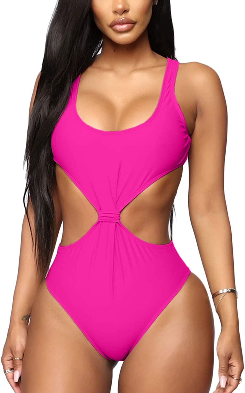 Almaree Women's Knot Front Tie Back Cutout High Leg Swimwear One Piece Swimsuits
