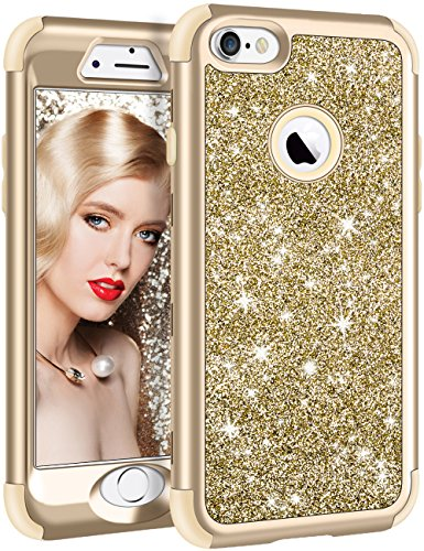 Vofolen for iPhone 6S Plus Case iPhone 6 Plus Case Glitter Bling Shiny Heavy Duty Protection Full-Body Protective Hard Shell Hybrid Rubber Bumper Armor Front Cover for iPhone 6 Plus 6S Plus Gold