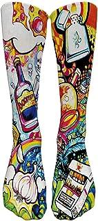 Mujer Invierno Divertidos Termicos Algodon Colorido Tie Tinte De Compresión Calcetines De Fútbol De Calcetines Altos Calcetines Largos